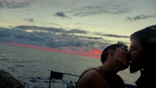 kissing in the sunset